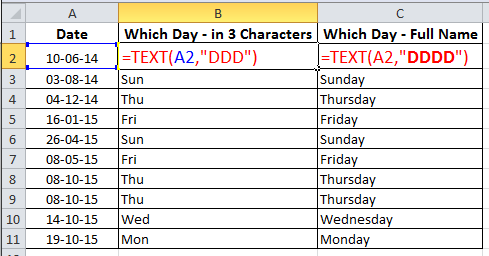 Find Day name from Date using =TEXT in Excel