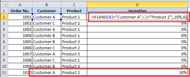 How to use AND in IF formula in Excel
