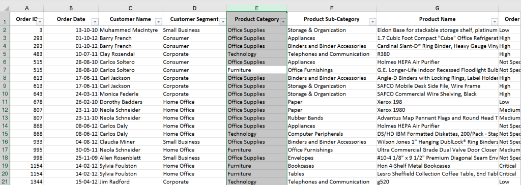 Excel Shortcut to Select full column