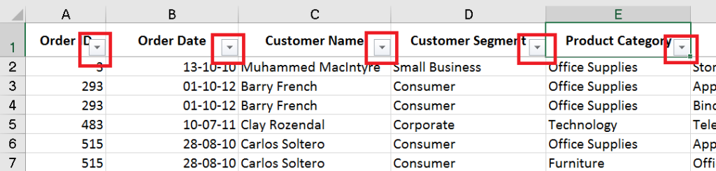 Excel shortcut to turn on Auto-filter