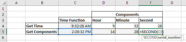 Functions to get Components of Time