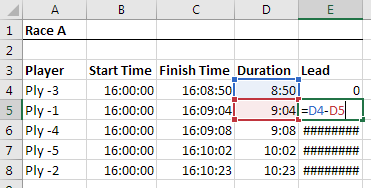 Leads - how many seconds to gain next place?
